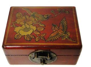 Leather Rectangular Storage Box Red Asian Decorative
