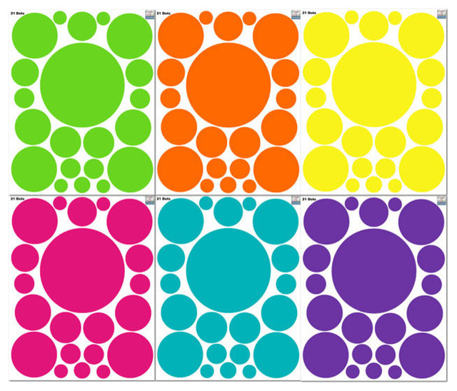 Fun Colored Room Dot Wall Decals.