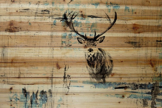 """""""looking For The Herd"""" Painting Print On Natural Pine Wood, 60""""x40""""."""