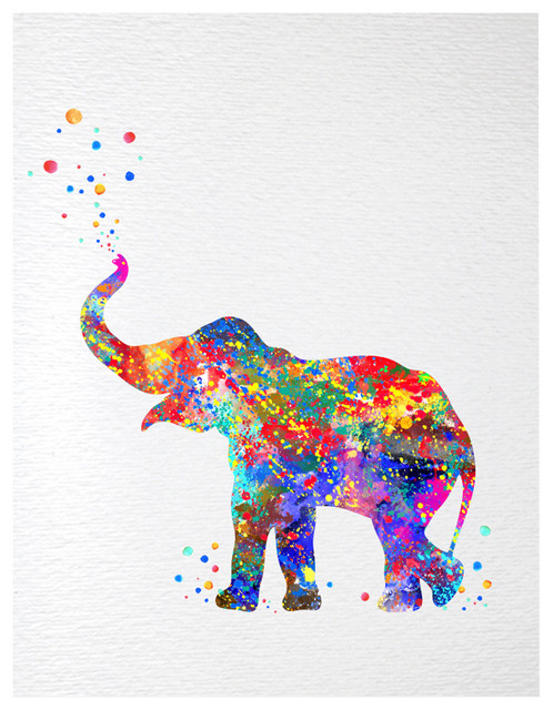 Baby Elephant Trunk Up Print Kids Contemporary Watercolor Art Print