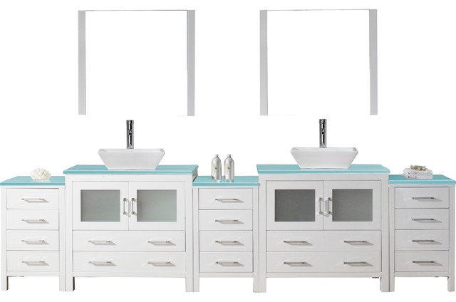 Dior 126 Double Bathroom Vanity, White With Aqua Tempered Glass Tops.