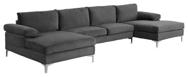 Large Velvet Fabric U Shape Sectional Sofa, Gray by