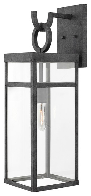 low priced 0fc6f 5a275 Hinkley Porter Outdoor Large Wall Mount Lantern, Aged Zinc