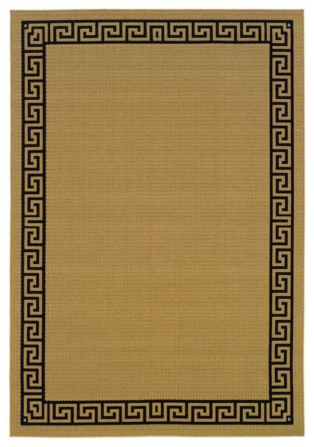 Malibu Indoor And Outdoor Outdoor Beige And Black Rug, 7&x27;3x10&x27;6.