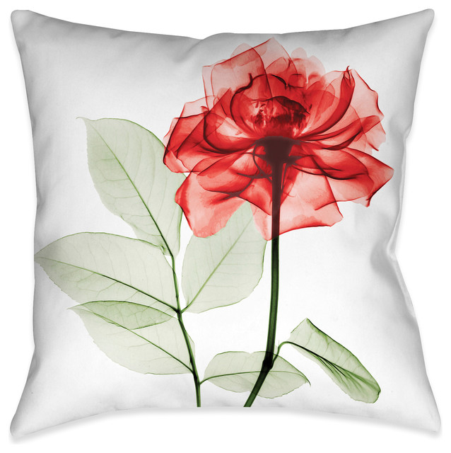 Laural Home Sultry Red Rose Decorative Pillow