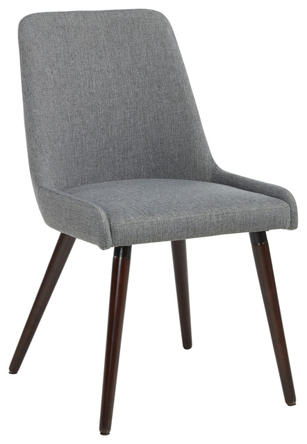 Set Of 2 Fabric Side Chairs, Dark Gray Fabric Contemporary Dining Chairs