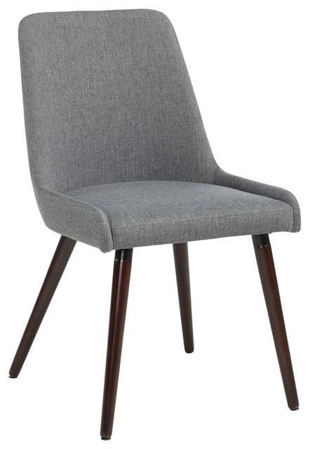 Beautiful Set Of 2 Fabric Side Chairs, Dark Gray Fabric Midcentury Dining Chairs