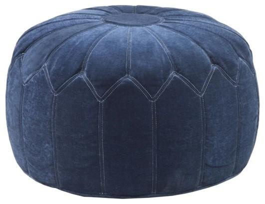 Kelsey Round Pouf Ottoman, Blue.
