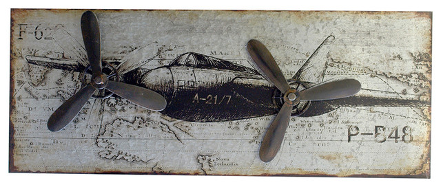 Metal Airplane Wall Decor Contemporary Mixed Media Art