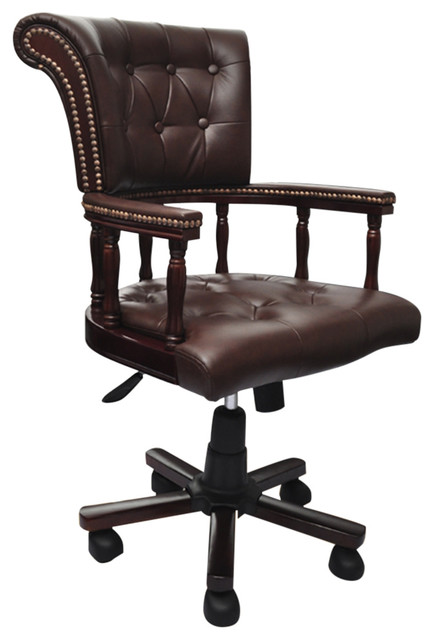 Brown Real Leather Chesterfield Captains Swivel Office Chair