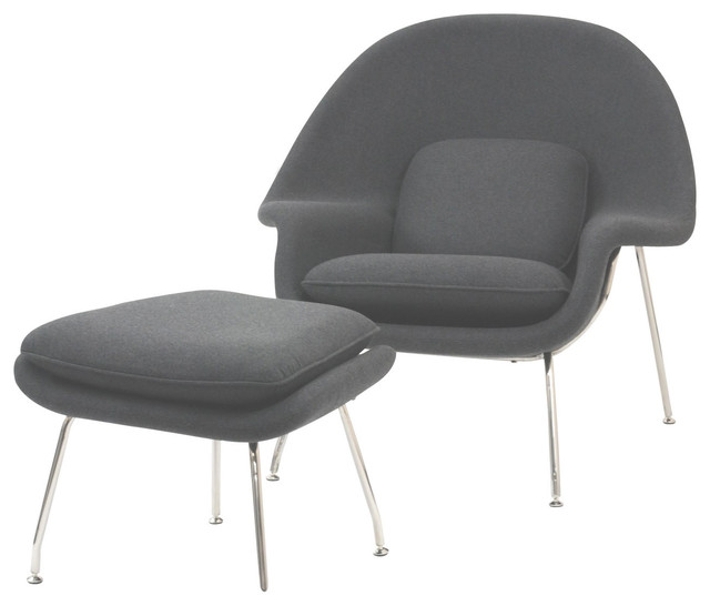Modern Light Gray Fabric Lounge Chair With Ottoman Wall