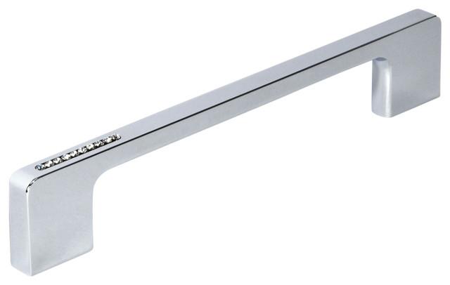 Swarovski Crystal and Metal Bar Drawer Handle, Chrome