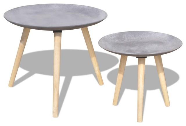 vidaXL Two Piece Side Table Set, Grey