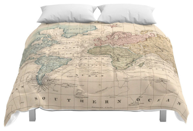 Society6 Vintage Map of The World, 1823 2 Comforter, Queen, 88x88
