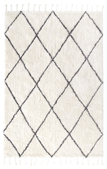 Albin White And Black Diamond Shag Rug Contemporary Area Rugs
