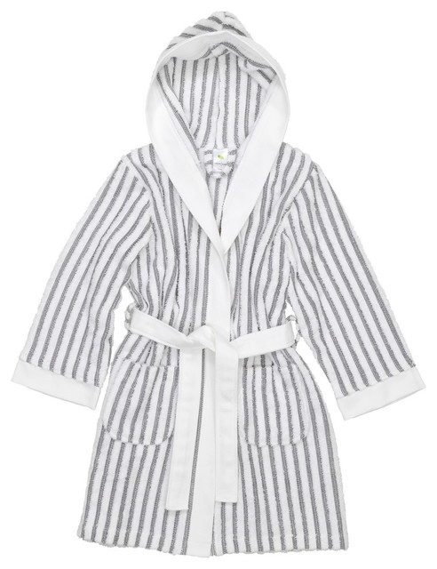 Linum Kids Alev 100% Turkish Cotton Terry Stripe Hooded Unisex Bathrobe e27870216