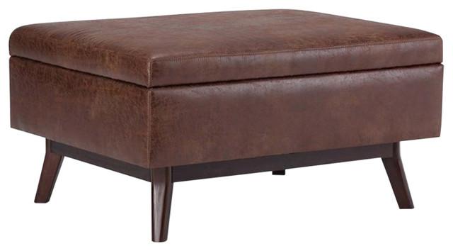 Atlin Designs Faux Leather Storage Coffee Table Ottoman Saddle