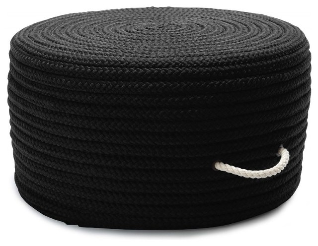 Braided Simply Home Solid Pouf Pouf Ottoman Black Round
