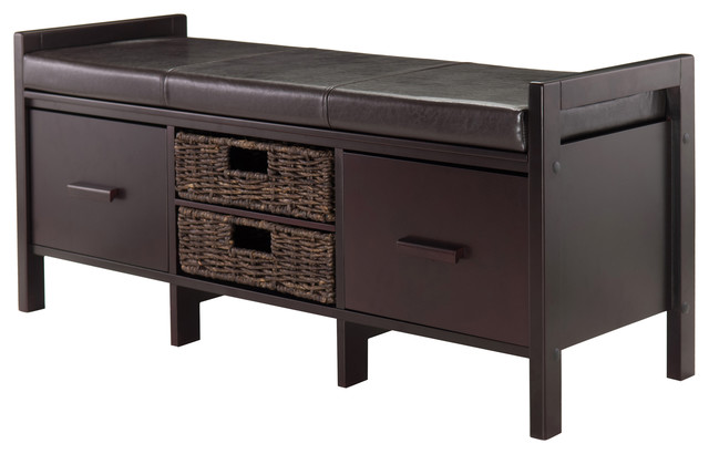 Fulton Cushion Storage Hall Bench With Baskets Contemporary Accent And  Storage Benches
