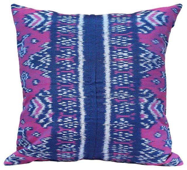 """purple Moon"" Handwoven Ikat Boho Pillow, Purple Pillow 18"" Square From Bali."