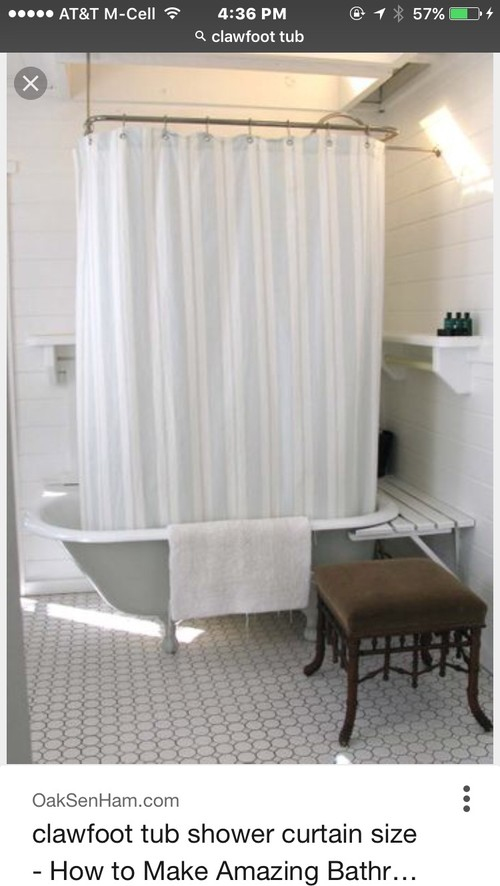shower curtain size for clawfoot tub. Thanks so much  Marcia Do I need a clawfoot tub shower curtain