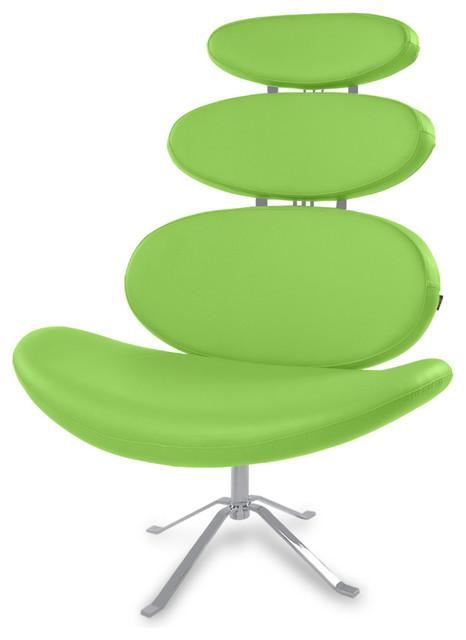 Merveilleux Pebble Modern Swivel Occasional Chair, Lime Green