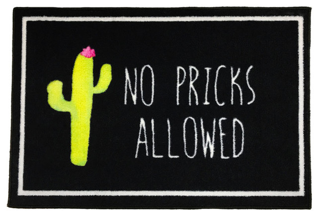 No Pricks Allowed Cactus Welcome Doormat, 2&x27;x3&x27;.