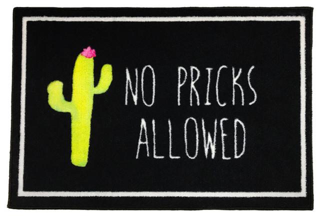 No Pricks Allowed Cactus Welcome Doormat, 2&x27;x3&x27;.