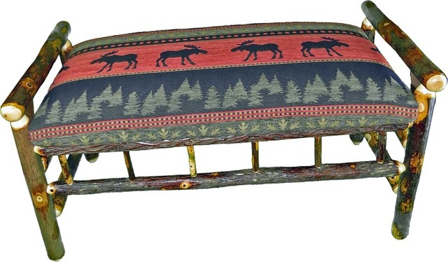 Rustic Hickory Upholstered Bench, Red Moose.