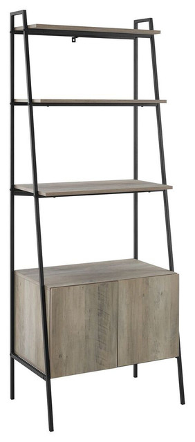 We Furniture 72 Metal And Wood Rustic Style Ladder Storage, Gray Wash.