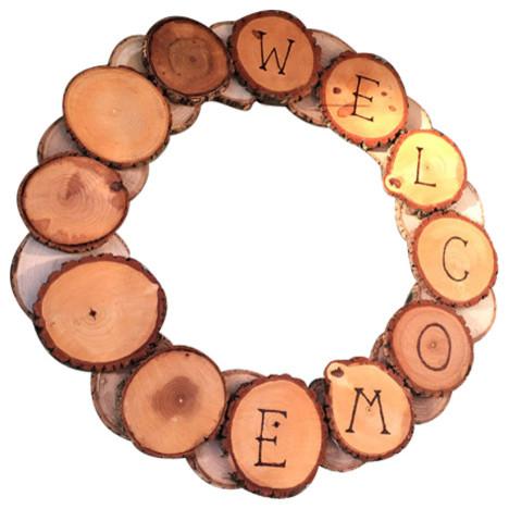 Large Tree Wood Coaster Wreath With Bark, 19 Diameter.