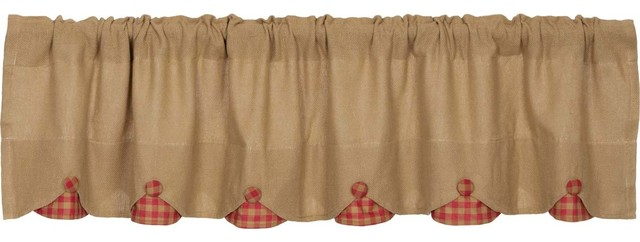 Burlap With Red Check Valance, 16x72.