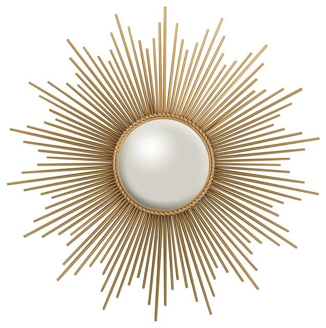 Sunburst Antique Brass Round Decorative Mirror ...