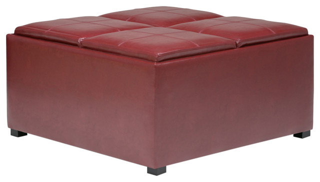 Remarkable Simpli Home Avalon Faux Leather Coffee Table Storage Ottoman Red Cjindustries Chair Design For Home Cjindustriesco