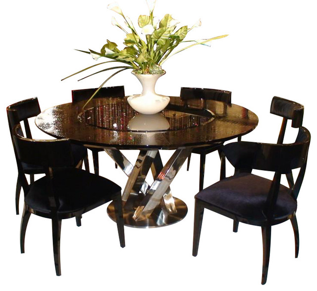 AC833 180 Black High Gloss Crocodile Textured Glass Dining Table With Lazy Susan