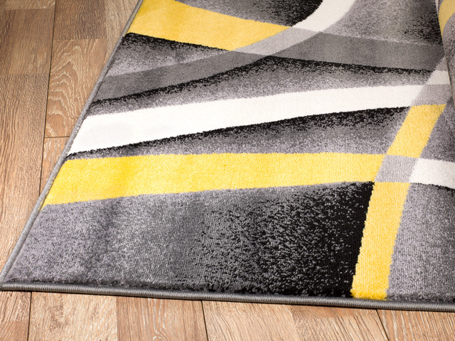 Summit Gray Abstract Area Rug With Yellow And White Lines Design H21 Contemporary Area Rugs By Rug And Decor Inc