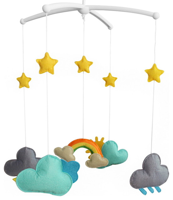 handmade baby bedding musical mobile infant hanging. Black Bedroom Furniture Sets. Home Design Ideas