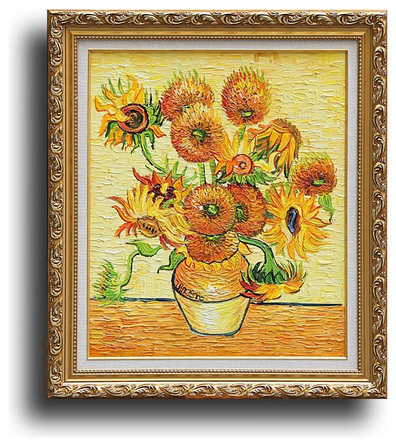 Fourteen Sunflowers In A Vase Oil Painting Traditional