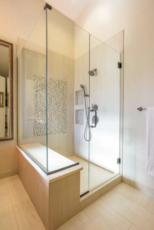 The Bathtub And Tiny Shower Were Removed To Make Way For A Large Master  Shower. Glass And Stone Mosaic Tile Insert. Shower Niches For Recessed  Storage.