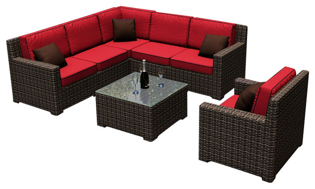 Capistrano 7 Piece Modern Outdoor Sectional Set, Flagship Ruby Cushions  Contemporary Outdoor Sofas