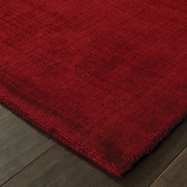 Maderia Solid Plush Red Area Rug Contemporary Area