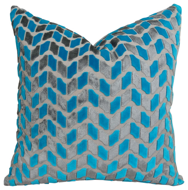 Thomas Collection Turquoise Gray High End Accent Pillow 12x20