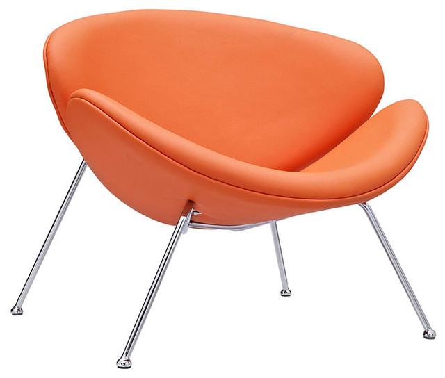 Nutshell Upholstered Vinyl Lounge Chair, Orange