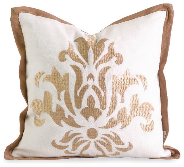 IK Kassa Embroidered White Gold Pillow With Down Fill Cotton Decor Mesmerizing Down Decor Pillows