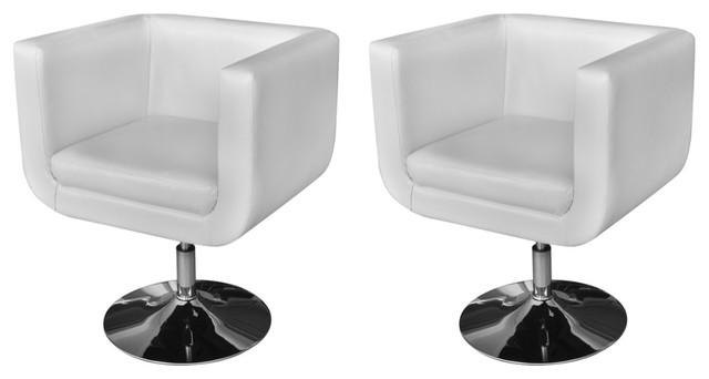 Outstanding 2 White Artificial Leather Bucket Armchair Chrome Swivel Base Club Chair Modern Ncnpc Chair Design For Home Ncnpcorg