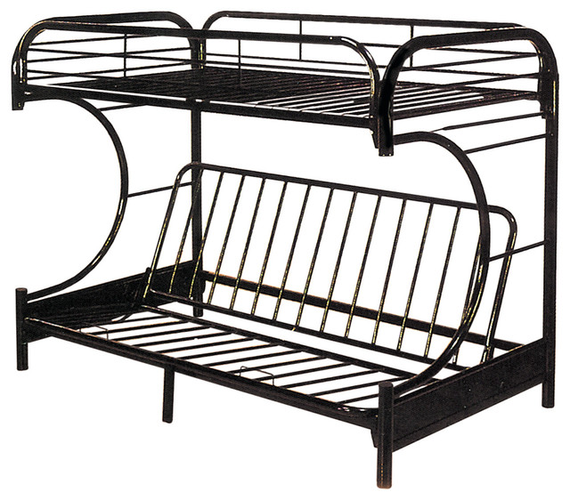Twin Over Full Black C Shape Futon Bunkbed Contemporary