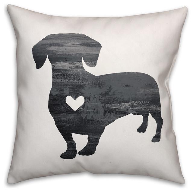 Gray Silhouette Dachshund 16x16 Spun Poly Pillow.