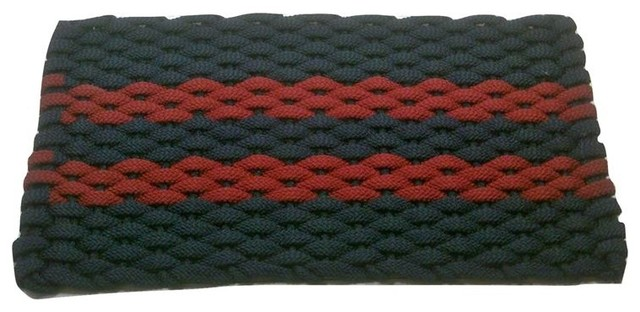 20x30 Rockport Rope Mat, Navy With 2 Stripes Rose And Navy Insert.