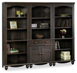 Sauder Harbor View Library Wall Bookcase, Antiqued Paint - Bookcases - by Homesquare