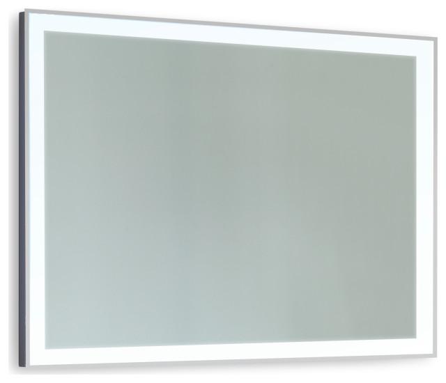 "Stellar Stainless Steel Framed LED Mirror, 24""x36""x1.75"""